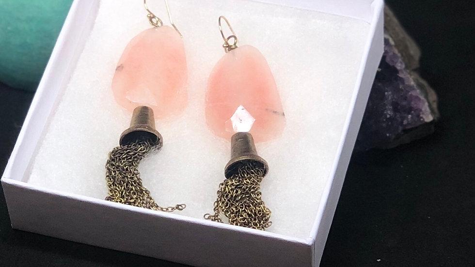 Rose 🌹 Quartz Tassel Earrings