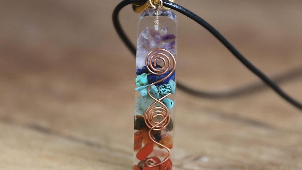 7 Chakra Energy Pendant Orgonite Necklace Rainbow Crystal Necklace