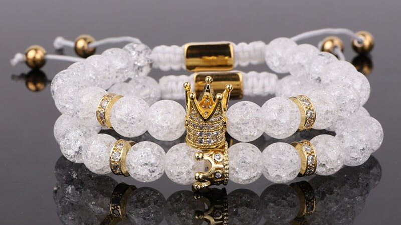 White Crystal Beads CZ Crown&Queen Charm Macrame Bracelet Couple Jewelry