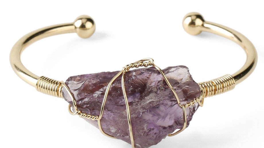 Natural Stone Bangle Gold- Crystal Quartz Cuff
