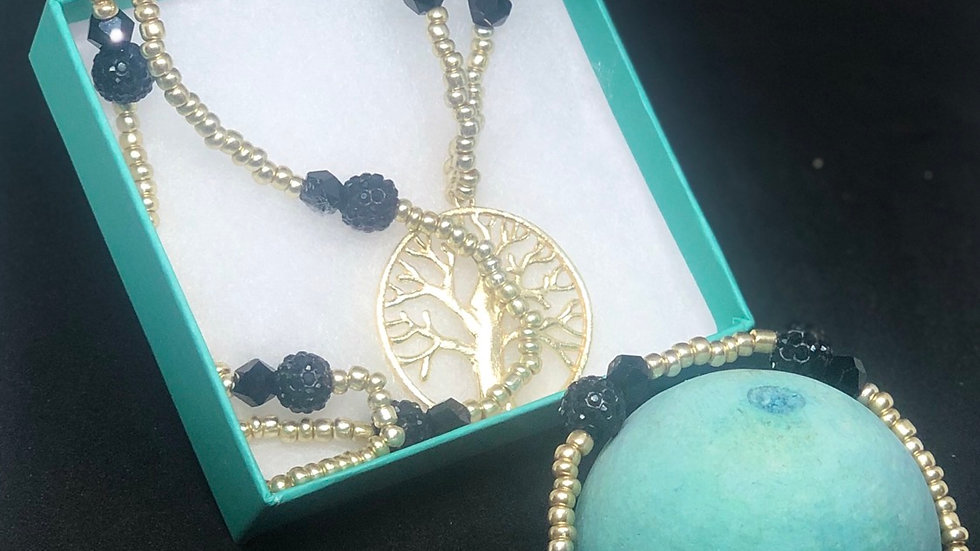 Men's Gold Seeded Tree of Life Set (2pcs)