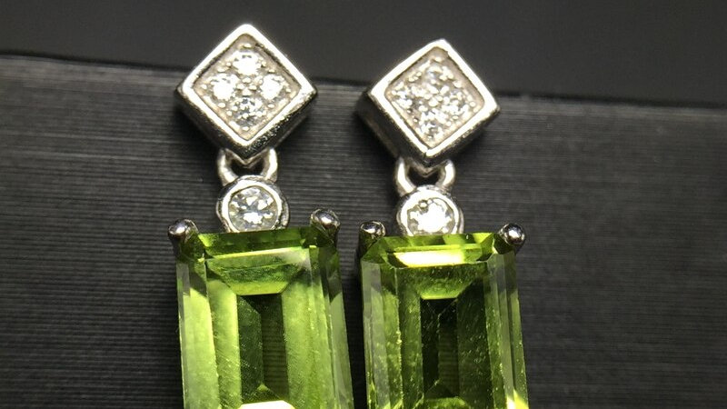 Natural Peridot Earrings for Women, 925 Sterling Silver, 5*7mm