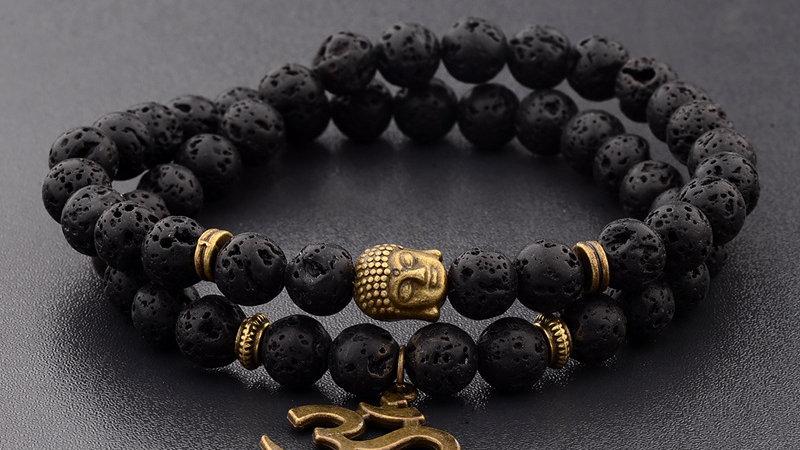 Men's  Buddha Bead Bracelet  Black Natural Stone Chakra Bracelets