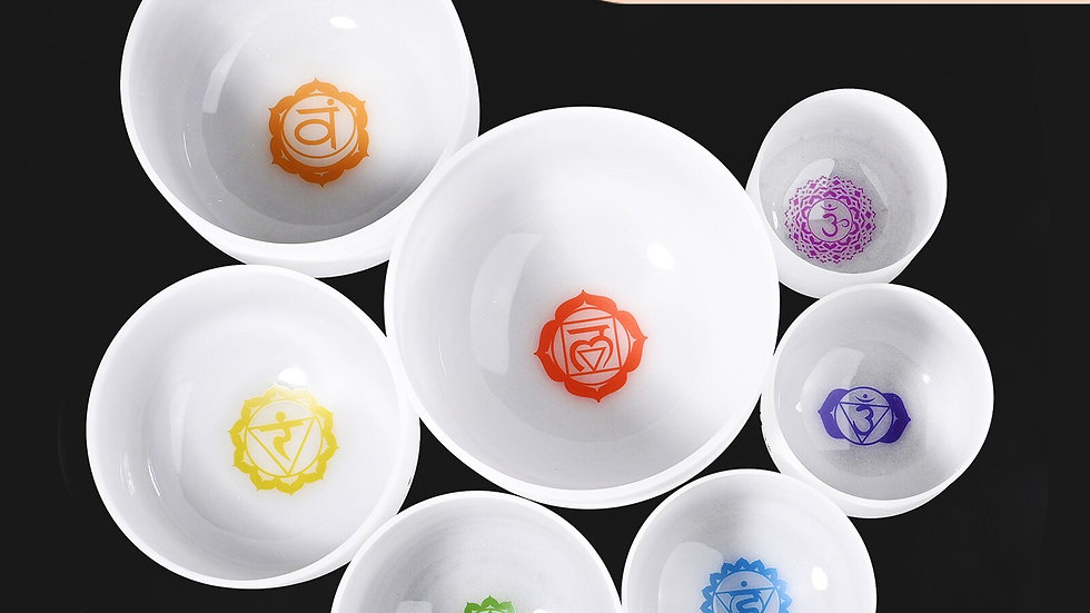 """8-12"""" Set of 7pcs Frosted Quartz Crystal Singing Bowl With Chakra Design"""