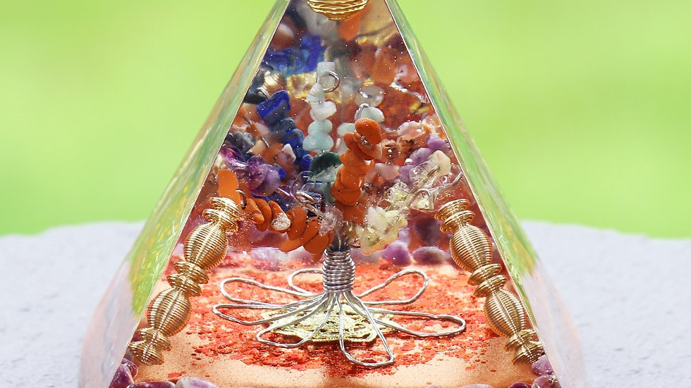 Chakra Orgonite Pyramid Natural Stone Reiki Healing Energy Tree of Life