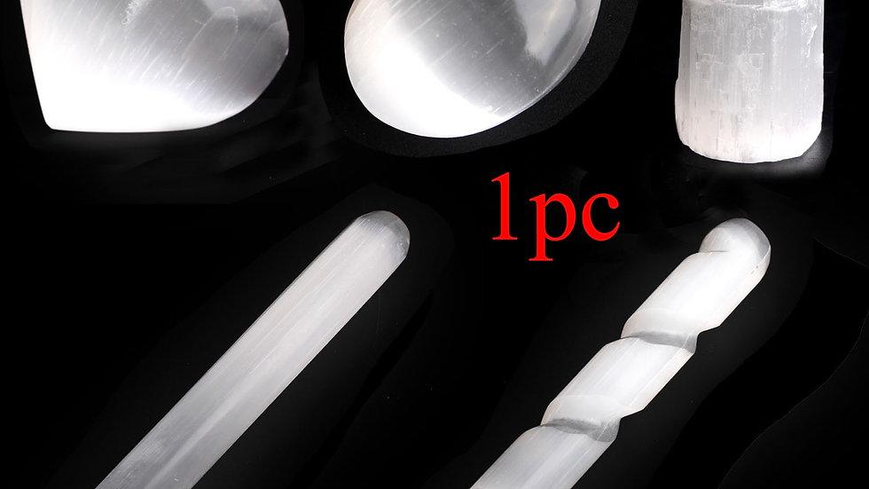 1PC  White Selenite Tower  Palm  Stone Stick Quartz