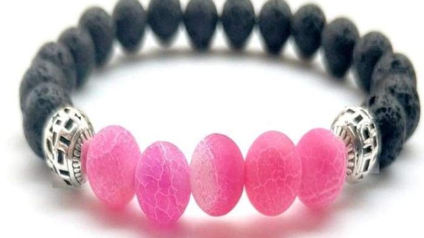 Pink Lava Stone Essential Oil Bracelet