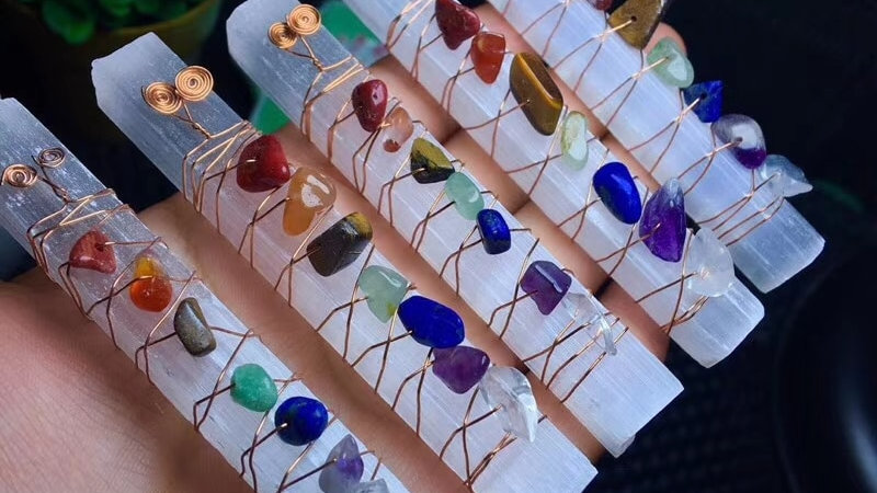 Chakra Healing Crystals Stones Beads Wire Wrapped Raw Selenite Stick Wand
