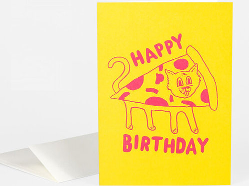 Happy Birthday (Pizza Cat) Card
