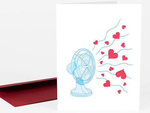 Fan with Hearts Card