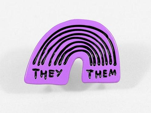 They/Them Rainbow pin