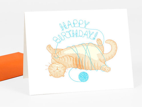 Happy Birthday (Cat with Yarn) card