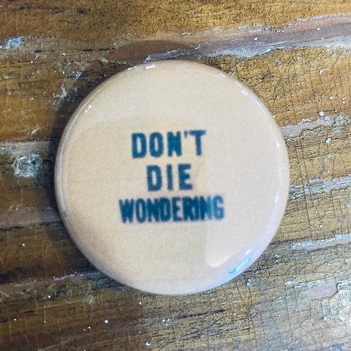 Don't Die Wondering Pin