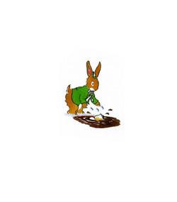 Rabbit drops his school books_