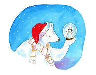Polar bear finds his snow globe