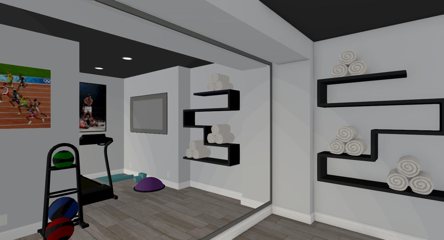 Excellent Functional Home Gym With Geometric Open Shelving Download Free Architecture Designs Rallybritishbridgeorg