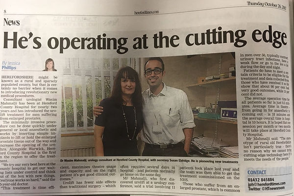 Newspaper article about patient care