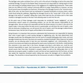Letter regarding repairs to units
