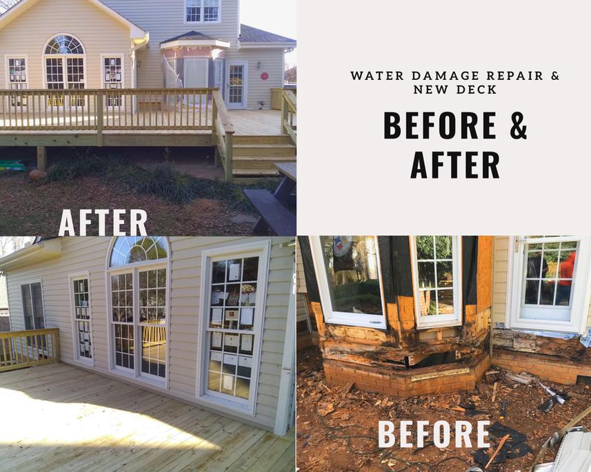 water damage & new deck
