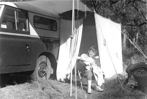 Barry Trippit camping with brother when young, landrover