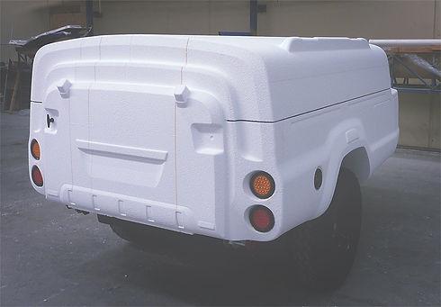 Mockup family camper trailer foam model