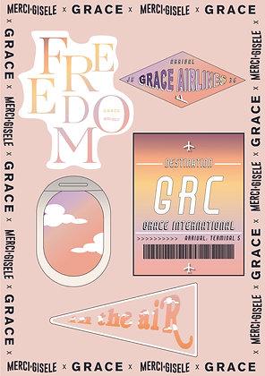 GRACE x Merci Gisele Luggage Stickers
