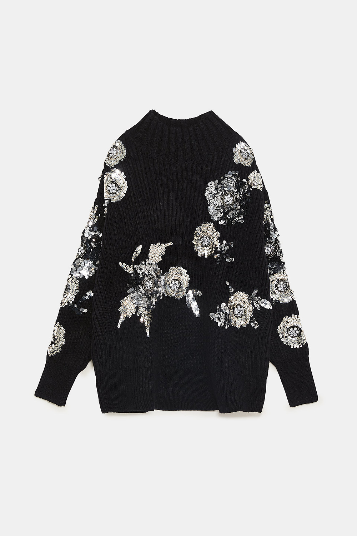 Zara Sequin Flower Sweater