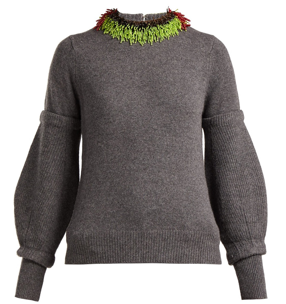 Toga Beaded Wool-Blend Sweater