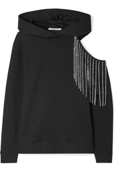 Christopher Kane cut-out embellished cotton-jersey hoodie
