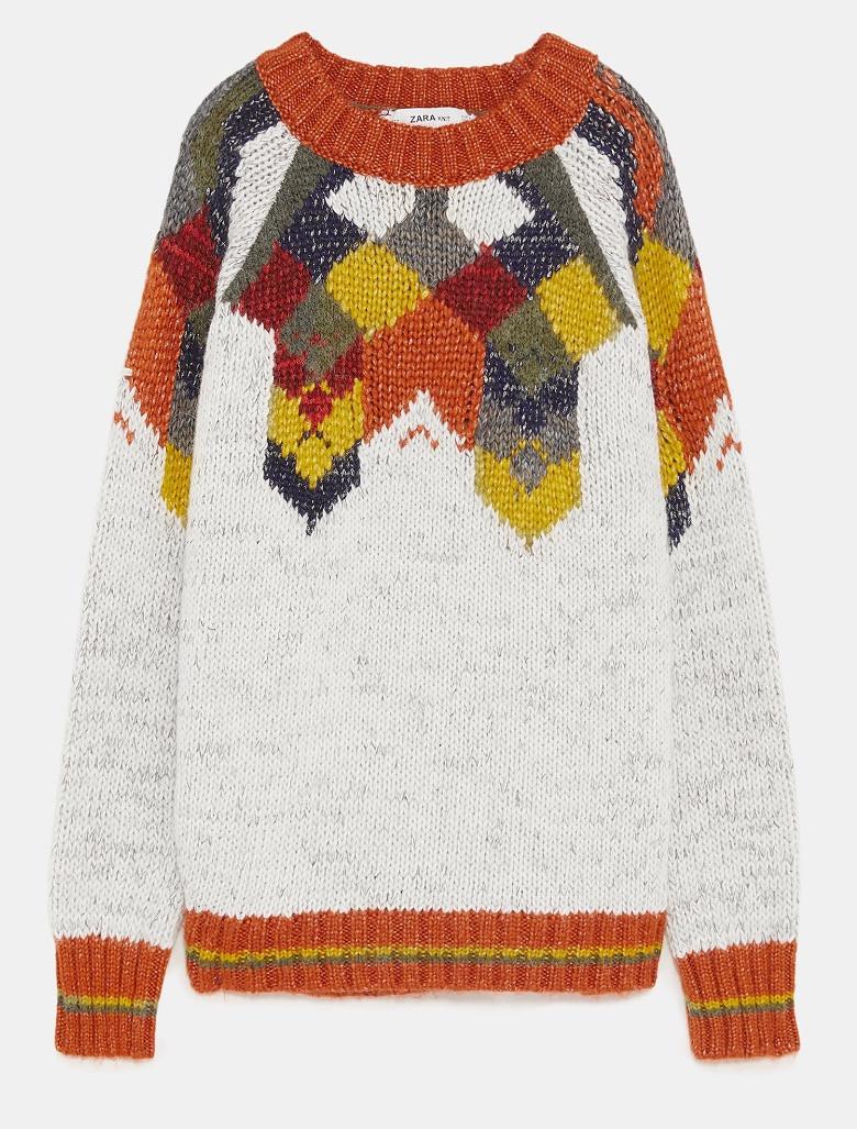 Zara Metallic thread jacquard knit sweater