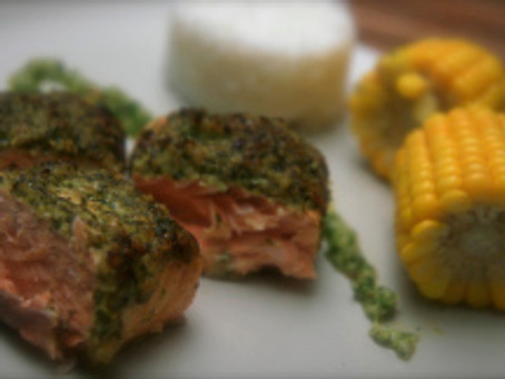 Cedar Planked Salmon with Garden Herb Pesto