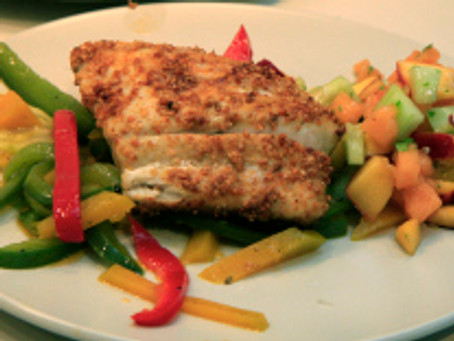 Grilled Snapper with Melon Salsa & Sautéed Vegetables