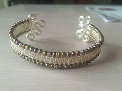 Wire Woven Bangle with seed beads