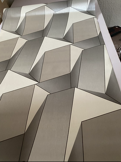 Hexagonal silver and milk color design