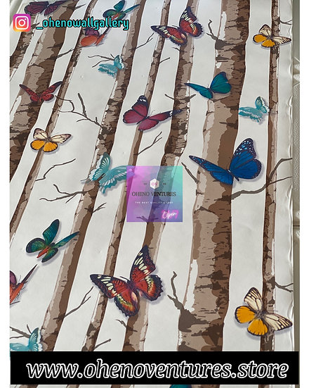 Brown tree butterfly wallpaper design