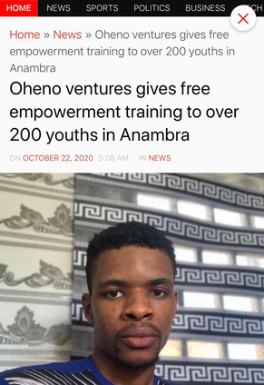 Oheno Ventures Gives Free Empowerment Training to over 200 youths in Anambra State