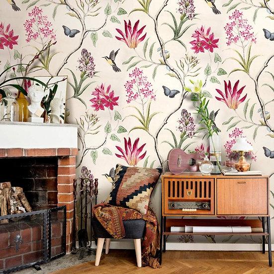 Flowered reddish 3d wallpaper