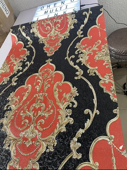 Red and black satin flower 3D wallpaper design