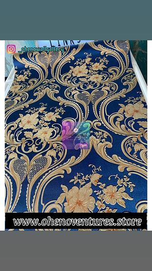 Golden Blue 3D flower wallpaper design
