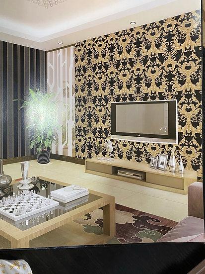 Dark brown 3D Gold wallpaper design