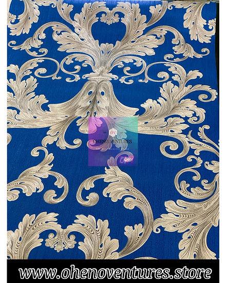 Blue Silver flower design