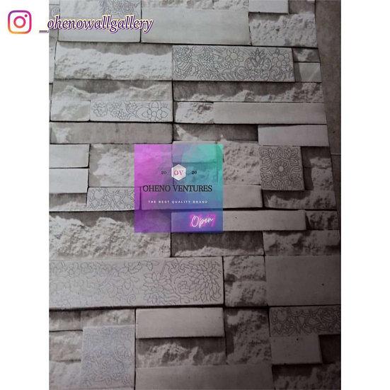 White designed wallaper brick design