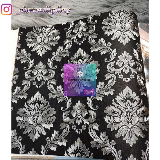 Black flowered 3d wallpaper