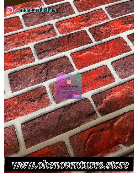 3D red bricks wallpaper design