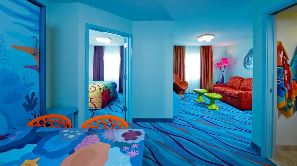 Quarto temático Procurando Nemo do Hotel Disney's Art of Animation