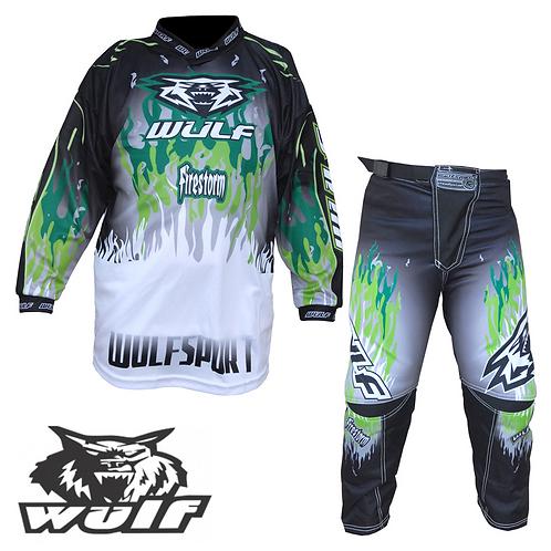 Wulf Firestorm Cub Motocross Jersey & Pants Green Kit
