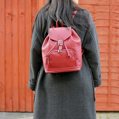 Harper Burgundy - Leather Backpack