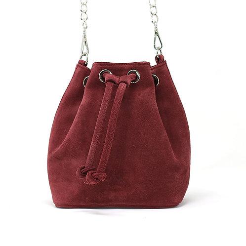 Kira Burgundy - Suede Crossbody Bag