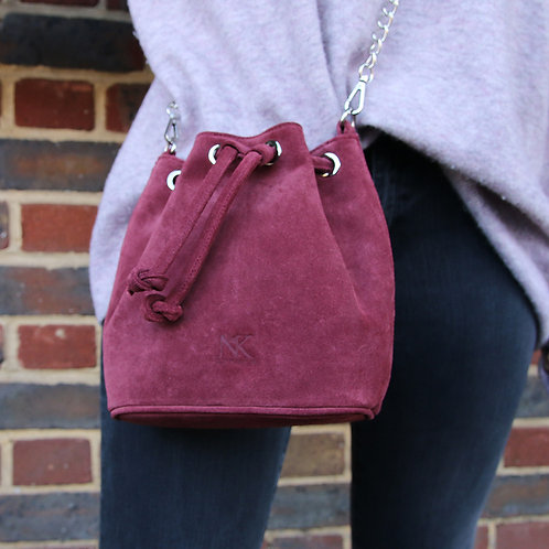 Kira Burgundy - Suede Crossbody Bag
