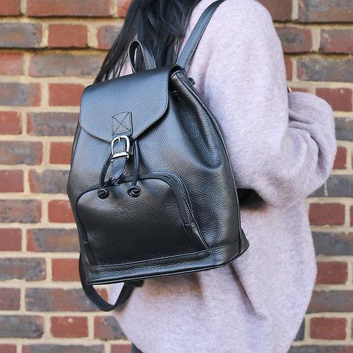 Harper Black - Leather Backpack
